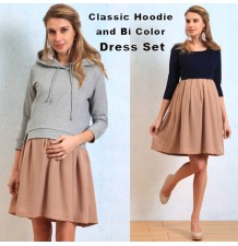 Maternity nursing hoodie and bicolor dress set