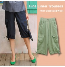 Adjustable Waist Fine Linen Maternity Capri Pants