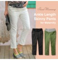 Adjustable Waist Fine Linen Cotton Maternity Trousers
