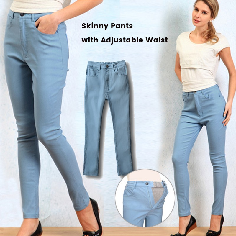 Maternity Skinny Denim Pants with Adjustable Waist