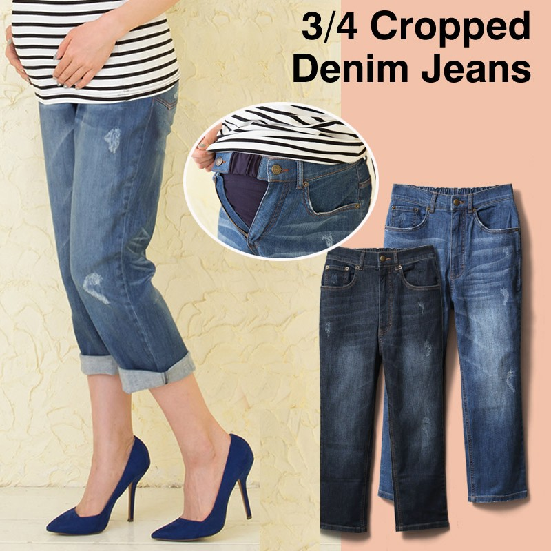 3/4 cropped maternity jeans with detachable waist extension