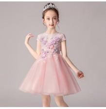 Flower girl ceremony formal dress pink 100-160cm
