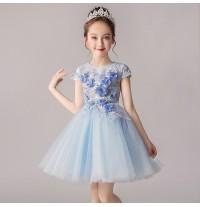 Flower girl ceremony formal dress light blue 100-160cm