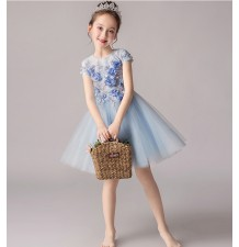 Flower girl ceremony formal dress light blue 100-160cm