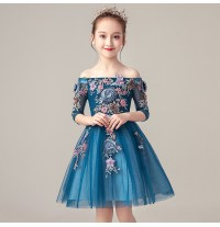 Flower girl ceremony formal dress blue 100-160cm