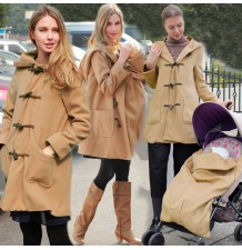 Mother Duffle Coat with baby pouch for stroller