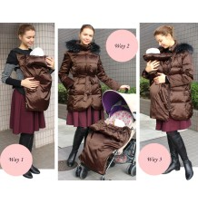 Down Mother Coat with baby pouch for stroller