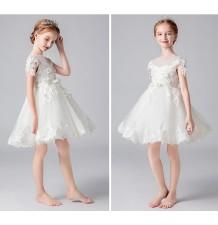 Robe blanche de cérémonie fille demoiselle d'honneur 100-160cm