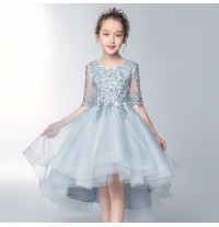 Flower girl formal dress Blu-Grey 100-160cm