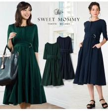 Maternity and nursing 3/4 sleeve dress