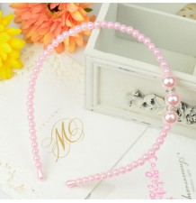 Girl pink beaded headband for ceremonies
