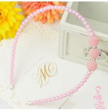 Serre-tête rose de cérémonie avec perles