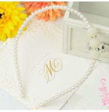 Serre-tête blanc de cérémonie avec perles