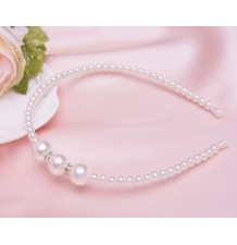 Girl white beaded headband for ceremonies