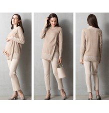 Double-layer Round neck Organic Cotton Maternity Nursing Sweater