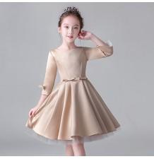 Flower girl champagne colour long sleeves dress 100-160 cm