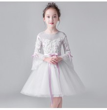 Flower girl formal dress white with pink decoration 100-160cm