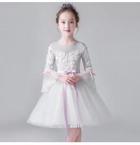 Robe demoiselle d'honneur blanc brodé 100-160cm