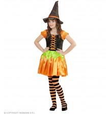 Costume de Halloween de sorcière citrouille 4-13 ans