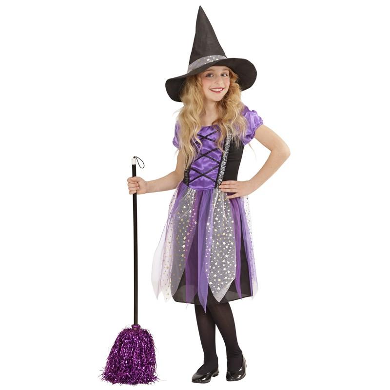 Costume streghetta in viola 5-13 anni