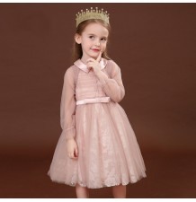 Flower girl formal long sleeve dress pink 100-130cm