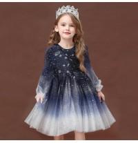 """Flower girl formal long sleeve """"night sky"""" dress 90-140cm"""