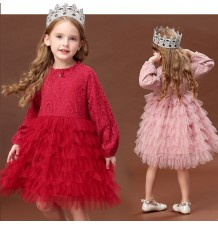 Flower girl formal long sleeve dress 100-140cm