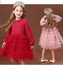 Flower girl formal long sleeve dress 100-140cm