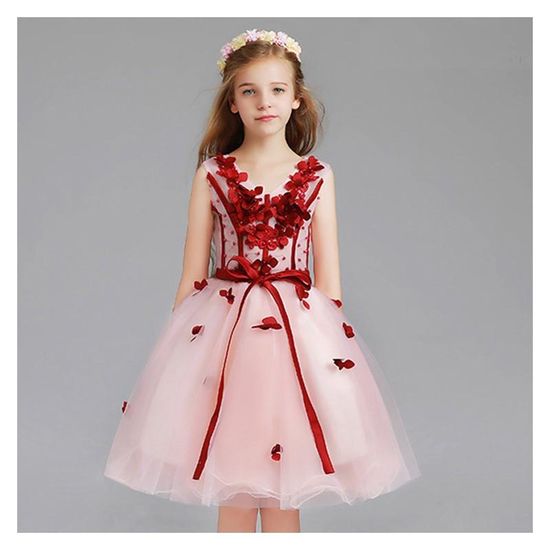 Flower girl formal dress pink/red 110-150cm