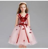 Robe rose et rouge de cérémonie fille-demoiselle d'honneur 110-150cm