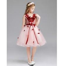 Vestito cerimonia bimba damigella rosa/rosso 110-150cm