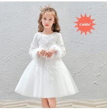 Flower girl ceremony formal dress white winter 100-160cm