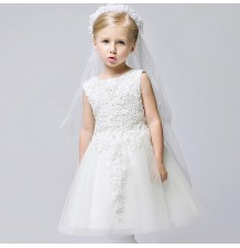 Flower girl formal dress white colour 80-140cm