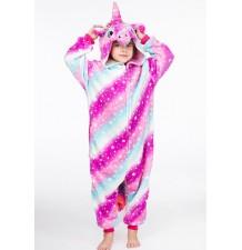 Costume pyjama d'unicorne rainbow 4-12 ans
