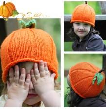 Bonnet fille fait au crochet Potiron d'Halloween