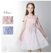 Flower girl ceremony formal dress white/pink 100-160cm