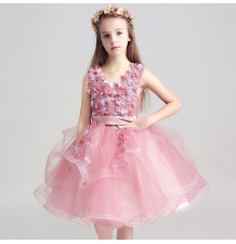 Flower girl ceremony formal dress pink 100-150cm