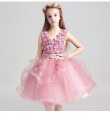 Flower girl ceremony formal dress pink 100-150cm