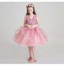 Robe rose de cérémonie fille demoiselle d'honneur 100-150cm