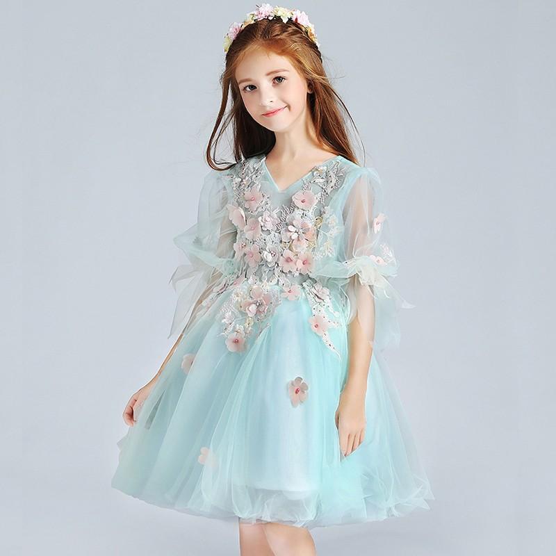 Flower girl ceremony formal dress light blue 100-150cm