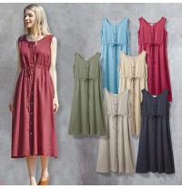 Maternity and nursing linen-cotton blend sleeveless maxi dress set