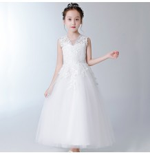 Flower girl long formal dress white 100-160cm
