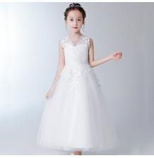Robe blanc de cérémonie fille-demoiselle 100-160cm