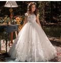 Girl long formal dress white communion 2 kinds length
