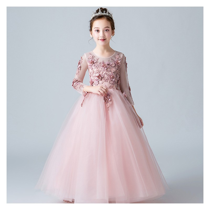 Flower girl formal dress pink 100-160cm