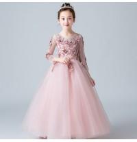 Flower girl embroidered formal dress pink 100-160cm