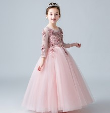 Flower girl formal dress pink 100-160cm