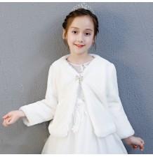 Boléro blanc hivernal pour petite fille 100-160cm