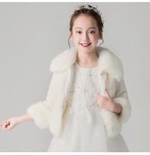 Boléro hivernal pour petites filles blanc