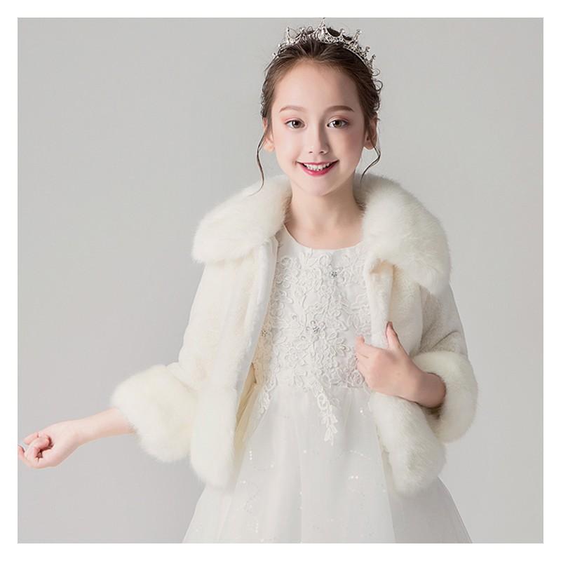 Elegant winter bolero for little girls white